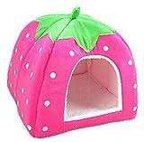 (デマ―クト)De.Markt ペットハウス ペット用品 犬小屋 猫ハウス 犬ハウス 室内 可愛い レッド 折りたたみ ふわふわ 快適 防寒 保温 イチゴ型 耐久性 ペットベッド