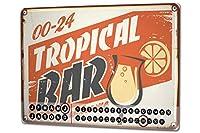 カレンダー Perpetual Calendar Alcohol Retro Tropical bar Tin Metal Magnetic Kitchen