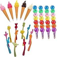 Dovewill 7本 指形状 ボールペン 笑顔 ひょうたん形 クレヨン 彩色鉛筆 アイスクリーム形 ボールペン 贈り物
