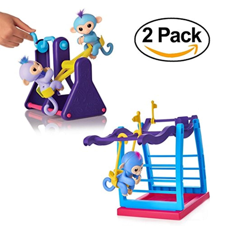 supremelife指Monkeyスイングセット+ Monkeyシーソー、2パック、指の赤ちゃん、モンキーキッズクリスマスギフト