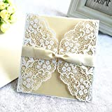 Personalised Lace Romantic Satin Ribbon Elegant Floral Lace Cards Wedding Birthday Christening Party Invitation