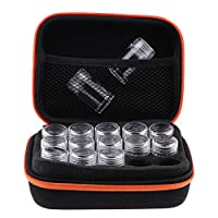 エッセンシャルオイル収納ケース アロマオイル収納ボックス 精油ケース 香水収納バッグ 携帯化粧バッグ - オレンジ