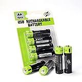 4つ入りの大容量 1250ミリアンペアAA電池ポリマーリチウムイオンマイクロUSB充電電池で、四イン一のミニリンクケーブルがあります