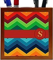 Rikki Knight Letter S Initial on Zig Zag Design 5-Inch Tile Wooden Tile Pen Holder (RK-PH45880) [並行輸入品]