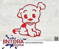 JINTORA ステッカー/カーステッカー - Chubby Dog - ぽっちゃり犬 - 88x93mm - JDM/Die cut - 車/ウィンドウ/ラップトップ/ウィンドウ- 赤