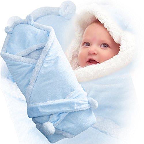 (ディーコッテ) D'Kotte ベビー ふわふわ ボア フリース 耳付き フード おくるみ 肉厚 モコモコ あったか 素材 赤ちゃん ベルト 付き アフガン ブランケット スリーパー 寝かしつけ お出かけ 出産祝い (ブルー)