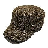 (ルーベン) 【RUBEN】 大きいサイズ対応 TWEED WORK CAP ツイード ワークキャップ ウール混 本革アジャスター付き XL ブラウン