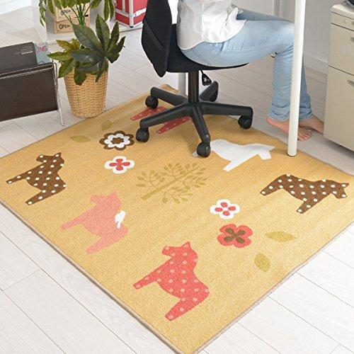 なかね家具 デスクカーペット 男の子 女の子 ラグマット 洗える デザインマット 馬柄 ホットカーペット対応 110x133 ベージュ 174flowerhorse