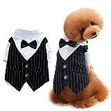 ANSIMITE 蝶ネクタイがめちゃキュート 犬 猫 服 タキシード 燕尾服 黒リボン 小型 中型 大型 サイズいろいろあります (XXL, ブラック)