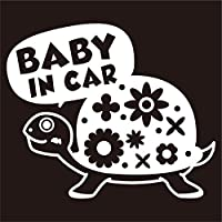 imoninn BABY in car ステッカー 【シンプル版】 No.53 カメさん (白色)