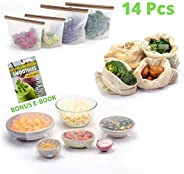 FutureUses® - Reusable Food Storage - 14 Pieces - 4 Silicone Food Bags + 6 Silicone Stretch Lids + 4 Mesh Produce Bags - Foo