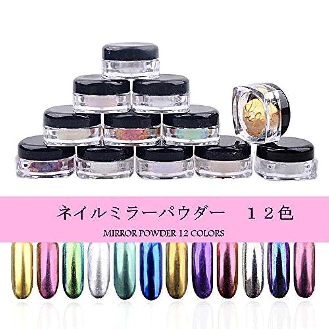 12色/セット 2g/個 镜面ネイルパウダー ミラーネイル メタルポリッシュマニキュア ネイルアート ネイル 用装飾