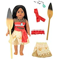 American Fashion World Moana Inspired Outfit with Wooden Paddle for 18-Inch Doll