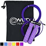 (Purple) - WOD Nation Attack Speed Jump Rope by Adjustable Jumping Ropes - Unique 2 Cable Skipping Workout System - 1 Heavy and 1 Light 3.4m Cable - Perfect for Double Unders - Fits Men and Women