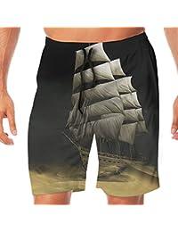 メンズ水着 ビーチショーツ ショートパンツ 船プリント スイムショーツ サーフトランクス 速乾 水陸両用 調節可能