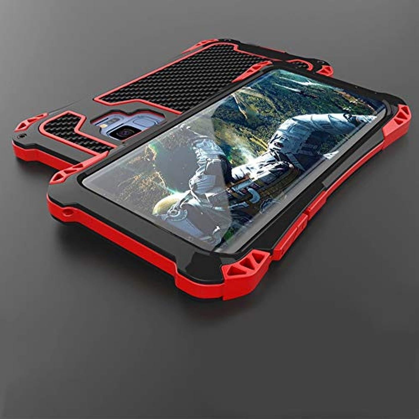 作動する遠近法タイプTonglilili サムスンS9、S9プラス、迷彩メタル3アンチ携帯電話ケースアンチフォール防水用ドロップシェルパーソナリティスクラブ電話ケース (Color : ブラック+レッド, Edition : S9 Plus)
