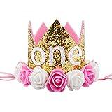 Funpa 帽子 ハット クラウン形 ベビー 子供の誕生日 バースデー 1歳 パーティー お祝い 記念日 キラキラ 人工皮革 カラフル プレゼント 可愛い