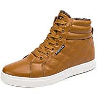 Gaorui Men's Winter Boots Snow Boots Lace Up Ankle Sneakers High Top Shoes With Fur Lining Chukka Boot