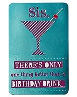 Birthday Drink Birthday Card for Sister with Glitter [並行輸入品]