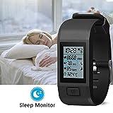 スマートブレスレット Bluethooth4.0 心拍数/活動量計/歩数計/温度/睡眠検測 心拍モニター付き 健康モニター 多機能スマートウォッチ  スマートリストバンド Android&IOS対応 (ブラック)