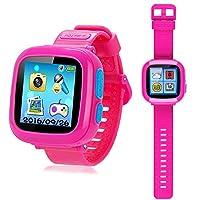 プレイウォッチ 子供のおもちゃ キッズ 腕時計 スマートウォッチ 多機能 腕時計 タッチスクリー 誕生日/卒業祝い/クリスマスのプレセント (ピンク)