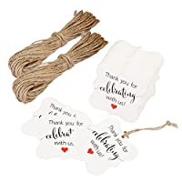 Aprince用紙FavorギフトタグThank YouタグWedding FavorギフトタグThank You For Celebrating With Us 100個ホワイトスクエアタグ20M Natural Jute Twine Perfect for Bridalベビーシャワー記念