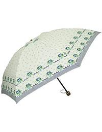 Juvia Pluie[ジュビア] 傘 レディース 婦人用折りたたみ雨傘 フラワー リボン プリント ベージュ