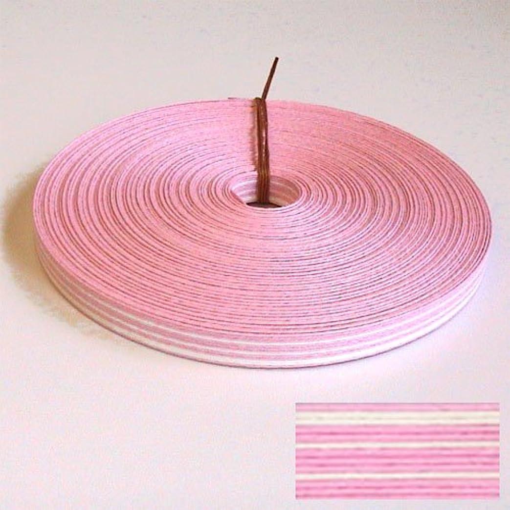 虎ごみとして紙バンド手芸用ホビーテープ 30m巻 13本ストライプ  白/うす桃