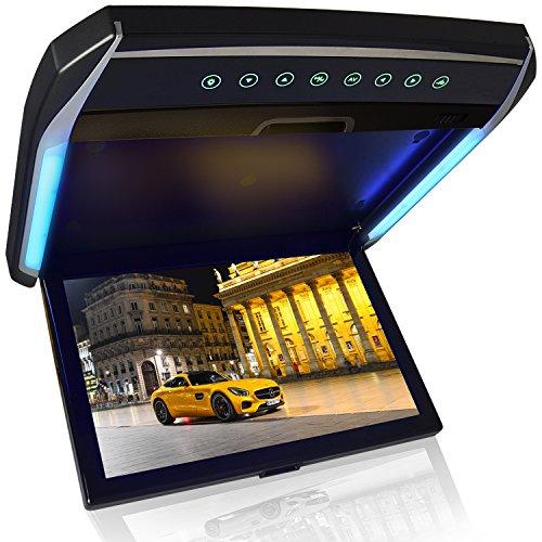 [해외]플립 다운 모니터 12.1 인치 디지털 플립 다운 모니터 LED 백라이트 고화질 1280 * 800pixel 액정 채용 HDMI 입력 MicroSD | USB 용 FM 송신기 기능 | IR 헤드폰 기능 영상 입력 지원 고급 스러움 LED 룸 램프 포함 극히 얇은 디자인 최신 디자인/Fl...