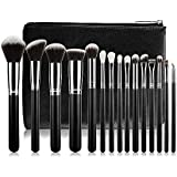 Makeup Brushes, CHAMVIS 15PCS Makeup Brush Set Synthetic Foundation Blending Blush Face Eyeliner Shadow Brow Concealer Lip Brush Kit with Cosmetic Bag (Sliver)