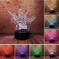 KLSOO ファッションLEDおもちゃ 3Dイリュージョンランプ マーベル アンチヒーローフィギュア ナイトライト 色が変わるムードノベルティランプ