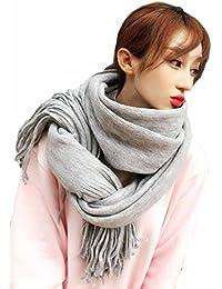 MengFan マフラー 秋冬 厚手 レディース スヌード ロング丈 無地 フリンジ ふんわりスカーフ 韓国風 ファッション 柔らかい カップル 快適