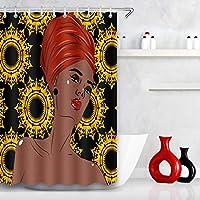 アフロアフリカ女性シャワーカーテンセクシーな黒少女Girl羅パターンポリエステル浴室シャワーカーテンセットフック60×72で 180X180 CM