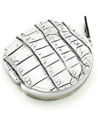 CRM1262-WHITE クロコダイルレザー丸型ファスナー小銭入れ(小):ホワイト