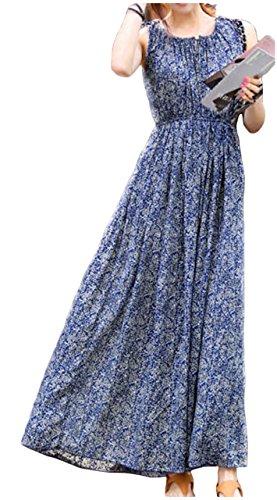 (ワン アンブ) ONE UMB ロング ワンピース 花柄 マキシ丈 さわやか ブルー リゾート ピクニック お出かけに S ~ XXL レディース
