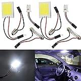 車用 LEDルームランプ 24 COB LEDパネル ドームライト T10 BA9S 花飾り アダプター 3種類付き 装飾モジュール 室内照明ランプ DC12V ホワイト 2個入り
