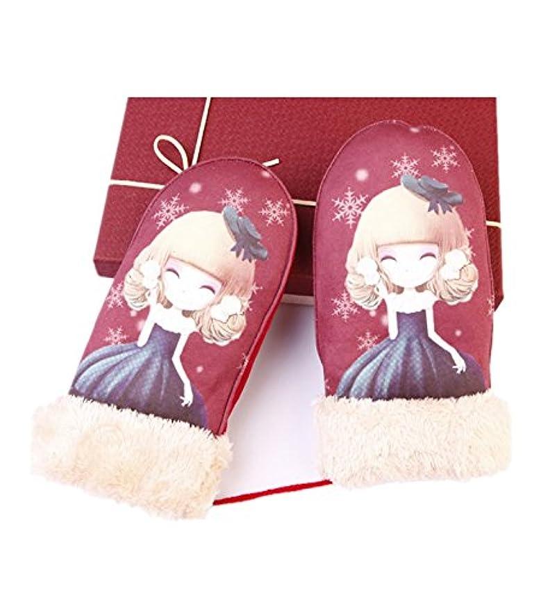 横に恩恵圧縮された暖かい厚み付けプラスベルベットHanging手袋& # xff08 ; Beautyレッド& # xff09 ;