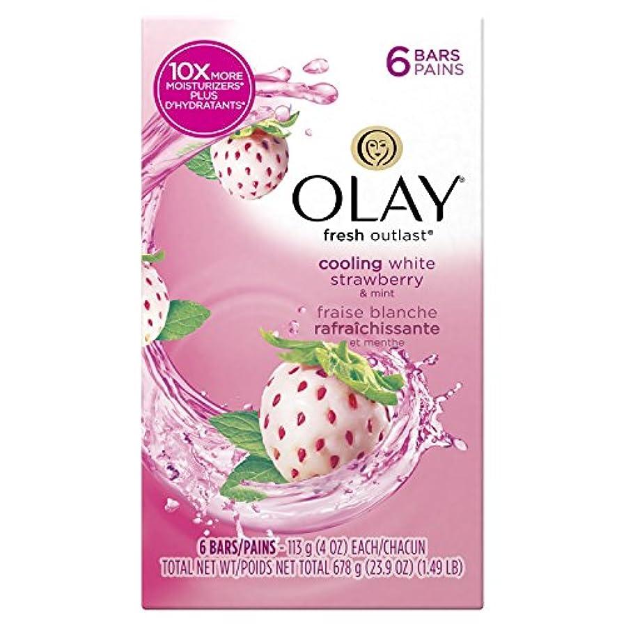 受動的潤滑する決定【ハワイ直送】 オーレイ 固形石鹸 ソープ クーリング ホワイトストロベリー&ミント 6個パック Olay Fresh Outlast Beauty Bars Cooling White Strawberry & Mint...