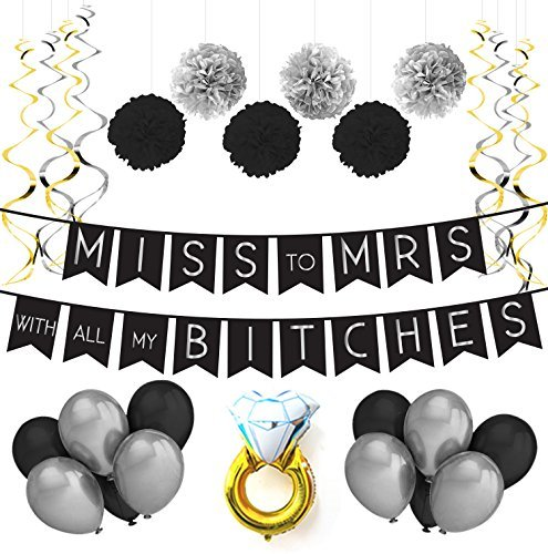 Sterling James Co. Miss To Mrs Classy & Sassy Bachelorette Black & Silver Party Pack - Bachelorette Party Decorations, Favors and Supplies [並行輸入品]