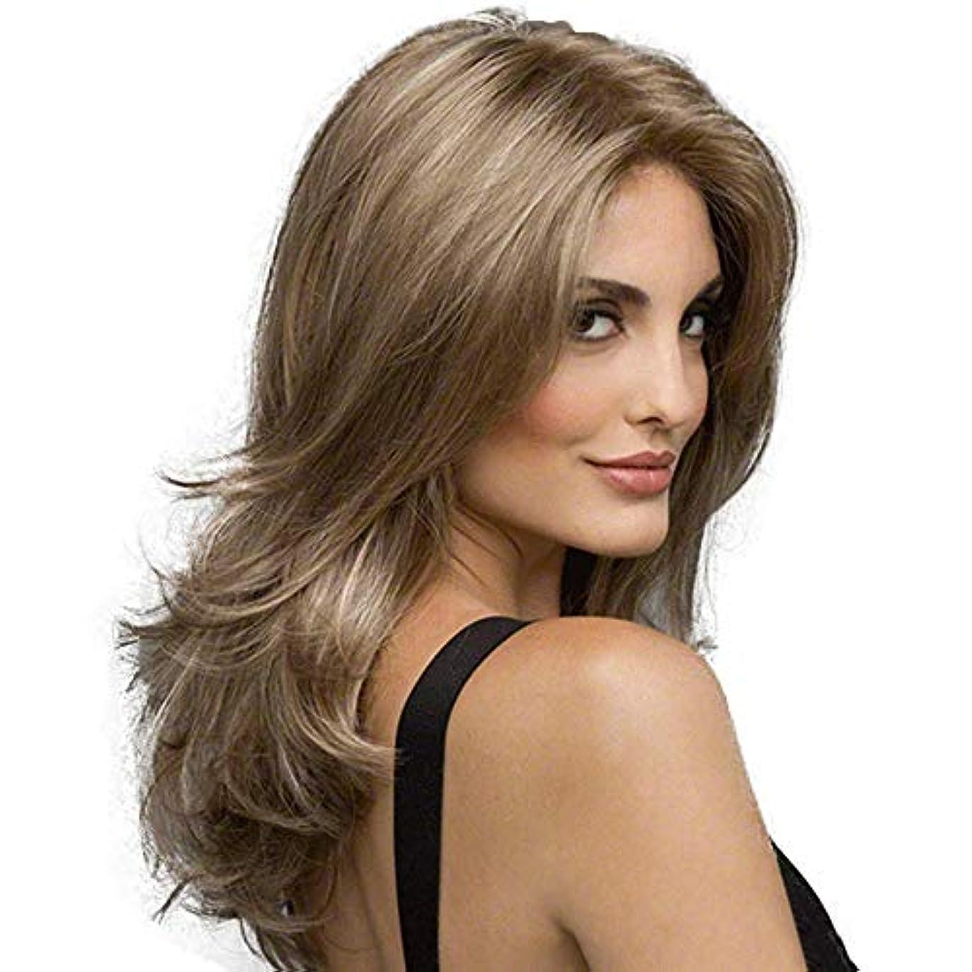 間違い信念章女性の長い巻き毛の波状の髪のかつら22インチ魅力的な自然な人間の髪のかつら熱にやさしい人工毛交換かつらハロウィンコスプレ衣装アニメパーティーかつら (Color : Linen brown)