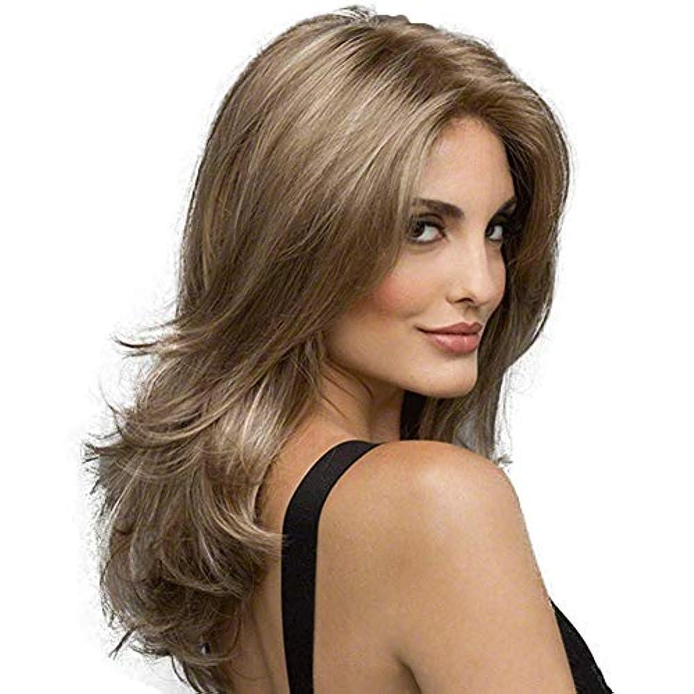 女性の長い巻き毛の波状の髪のかつら22インチ魅力的な自然な人間の髪のかつら熱にやさしい人工毛交換かつらハロウィンコスプレ衣装アニメパーティーかつら (Color : Linen brown)