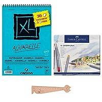 48色鉛筆aquarellables華やかなゴールドファーバーアクア+ 1図面ブロックCanson A4 Aquarelle + 1ルーラーブルミィブックマーク
