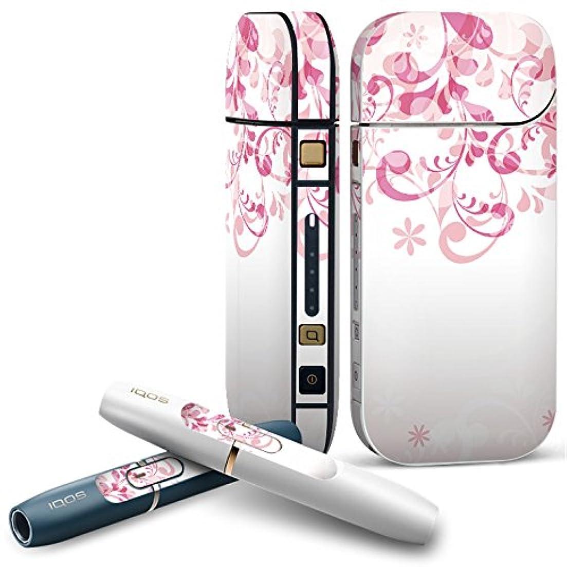 共和国脅かすたっぷりIQOS 2.4 plus 専用スキンシール COMPLETE アイコス 全面セット サイド ボタン デコ ラブリー ピンク 花 模様 000189