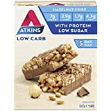Atkins Chocolate Hazelnut Crisp Bars | Keto Friendly Bars | 5 x 37g Low Carb Chocolate Hazelnut Bars | Low Carb,  Low Sugar, High Protein, High Fibre | 5 Bar Pack
