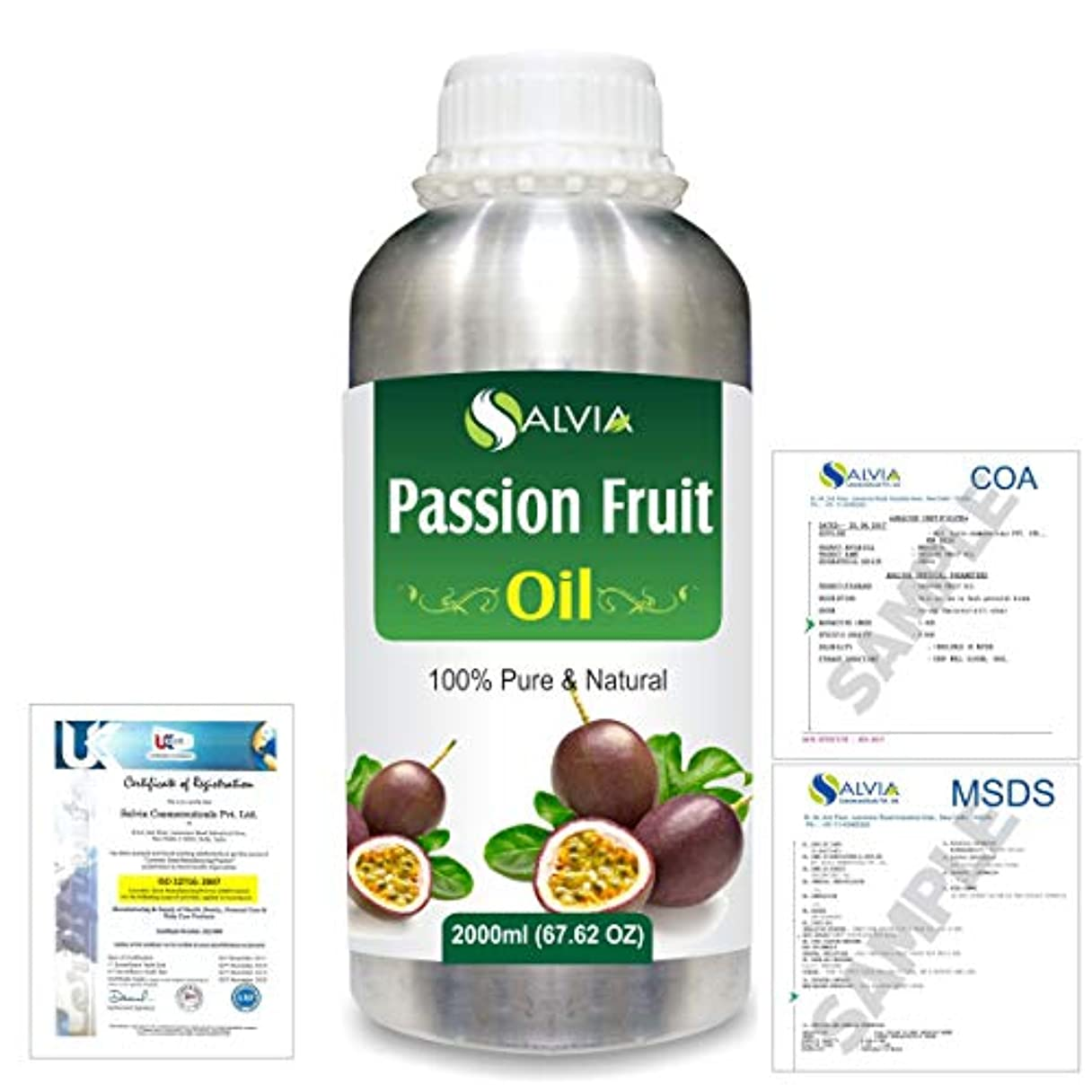 ミリメートルアジテーション品Passion Fruit (Maracuja) Natural Pure Undiluted Uncut Carrier Oil 2000ml/67 fl.oz.
