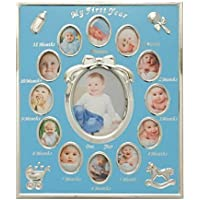 Tiny Ideas Baby's First Year Picture Frame, Silver/Blue by Tiny Ideas [並行輸入品]