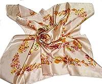 バリエーション豊か 華麗な上品シルク調スカーフ 90角正方形大判レディース スカーフ 贈り物 ギフト人気な花柄 春夏秋冬、年中に使える スカーフとっても上品で首に巻いても、カバンに付けてもワンランク上コーデに (F02)
