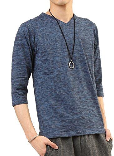 (アーケード) ARCADE メンズ カットソー スラブボーダー 7分袖 Vネック Tシャツ M ネイビー(7分袖)