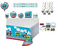 All Aboard! Train Kids Birthday Dinnerware/Decorations Combo Pack 9-Piece Bundle, Serves 8 (Plates/Napkins/Cups/Tablecloth/Photo Booth Props/Favors/Decorations) [並行輸入品]
