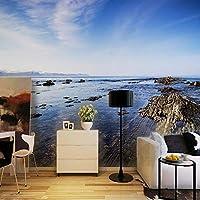 Wuyyii 大カスタム壁画3D自然風景ロックビーチ絵画写真の壁紙リビングルーム寝室の家の装飾3D-250X175Cm